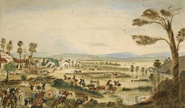 Aftermath of the 1861 Cullin-La-Ringo conflict in which 19 settlers were killed by Aborigines - 'The Wills Tragedy', 1861, painting, watercolour, by T.G. Moyle